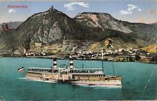 Bingen Germany Drachenfels Ship Ww1 Military Feldpost Postcard 1915