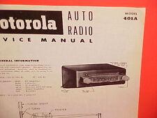 1952 MOTOROLA AUTO CAR AM RADIO FACTORY SERVICE SHOP REPAIR MANUAL MODEL 401A