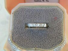 **VINTAGE ANTIQUE CHARMING 14KT WHITE GOLD HEARTS MICRO DIAMONDS BAND STACK RING