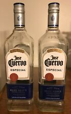 Lot of 2 Empty 1 Liter Jose Cuervo Silver Tequila Bottles With Caps / NEAR MINT