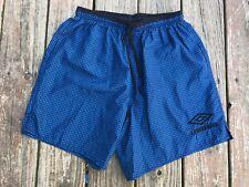 Vintage Umbro Checkered Soccer Shorts Nylon Satin Silky Large L USA Blue Black