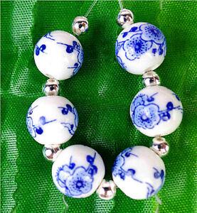 6Pcs 10mm Blue&White Print Flower Ceramic Heigth Hole Ball Bead BV8979