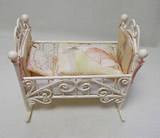 Dolls House Miniature Beatrix Potter style rocking Cot/crib (pink)