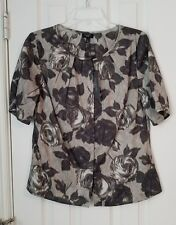*NEW* $69 Talbots Petite SZ 6P Grey Floral Print Blouse Cotton Dressy Career Top