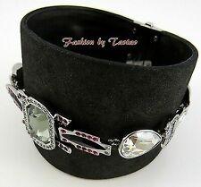 Signed Swarovski 1110335 Pony Bracelet Bangle Cuff Leather