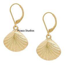 Gold Textured Seashell Dangle Leverback Earrings Beach Summer Sea Life  25-4