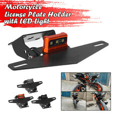 Motorcycle License Plate Mount Holder Bracket LED Brake Tail Lights For KTM