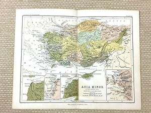 1853 Antique Map of Asia Minor Troy Ancient Greece Classical Antiquity Geography