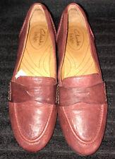 Clarks Indigo Women's Leather Burgundy Slip On Shoes Size 6 EUC!!