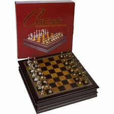 NEW Classic Metal Chess Deluxe Wood Storage Case Kids Adult Mind Board Game Set