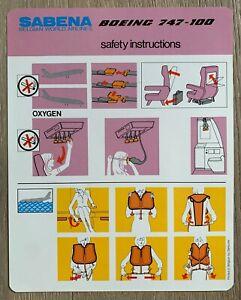 SABENA BOEING 747-100 SAFETY CARD