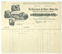 GRAPHIC BILLHEAD 1919 W A CASE & SON MFG CO. WROUGHT IRON PIPE, BUFFALO NEW YORK