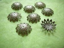 24pc 17mm antique bronze filigree bead cap-918