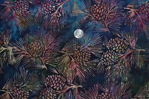 "Cotton batik quilting fabric 44"" x 2.6 yards, pine cone print"