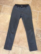 Chico's Platinum Soft Black/Gray Stretch Elastic Waist Skinny Jeans Sz 0