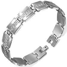 Stainless Steel Greek Key Panther Link Bracelet Men's / Unisex