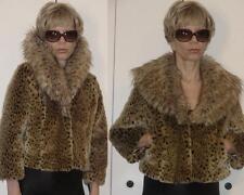 INC International Concepts Leopard Faux Fur Jacket shawl faux fox fur collar M