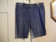 NEW YORK & COMPANY LADIES SIZE 14  DENIM KNICKERS KNEE PANTS BLUE JEAN SHORTS
