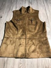 🔥Women LAUREN Ralph Lauren Dry Goods Brown Suede Leather Feel Vest Sz PP Petite