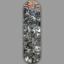 8.5 atomic7 LOST-IN-TIME skateboard Ringelstetter steampunk clock doodle skull