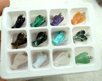 Natural agate Quartz Crystal Opal Hand-carved angel pendant Gem jewelry 12pcs