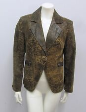 TRYST LEATHER JACKER DISTRESSED ANIMAL PRINT BROWN TONES 1 FRONT BUTTON SIZE M