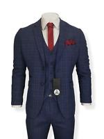Mens 3 Piece Suit Navy Check Tweed Slim Fit Peaky Blinders Vintage Wedding Prom