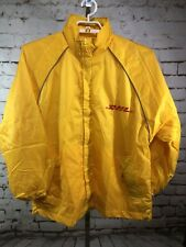 DHL Employee Uniform Waterproof Jacket/Shell Removable Hood Size Large Vintage