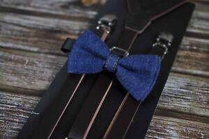 Boy Baby Kids Navy Blue Denim Bow Tie + Brown Leather Adjustable Suspenders Set