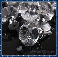 30mm Diamond Shape Crystal Glass Cabinet Knob Cupboard Drawer Pull Handle