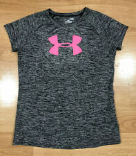 Girls Under Armour Shirt Ylg Heat Gear Heathered Black And Pink
