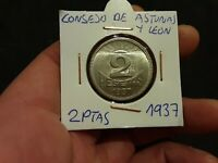 Moneda 2 Pesetas 1937 SEGUNDA REPÚBLICA ESPAÑOLA CONSEJO ASTURIAS Y LEON