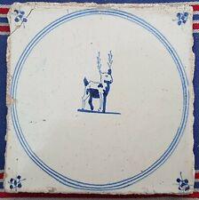 Antique Dutch Delft Blue White Deer/Animal Circle Tile 17th C Spider Corners