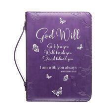 Woman Blessing Bible Cover Large Purple Butterfly Zippered Handle 9x6.5x2 Inches
