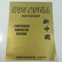 New China Restaurant Cantonese American Cuisine Las Vegas Nevada Vintage Menu