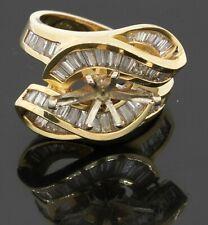 Heavy 14K yellow gold 2.0CT VS1/F diamond cluster semi-mount ring size 7.5