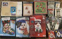 Lot of NEW 16 Christmas Assorted Counted and Stamped Cross Stitch & Craft Kits
