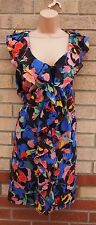 H&M RUFFLE RUCHED CHIFFON FLORAL PINK BLUE BLACK GREEN TUBE SMOCK DRESS 16 XL