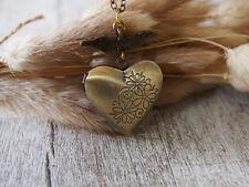 Brass Locket Angel Wing Flower Heart Pendant Necklace Brass Jewelry