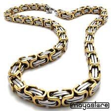 75cm / φ7 MACIZO BIZANTINO Collar Cadena Cadena Acero Inoxidable Oro Plata