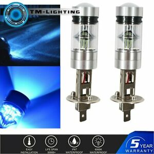 H1 8000K 100W LED ICEBERG BLUE 20-SMD Projector Fog Driving DRL Light Bulb Pair
