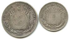 1923 Costa Rica Counter-Stamped Silver 1 Colon & 50 Centimos