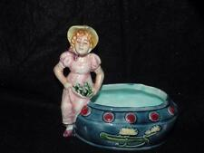 ANTIQUE MAJOLICA FIGURAL VASE GIRL WITH BONNET