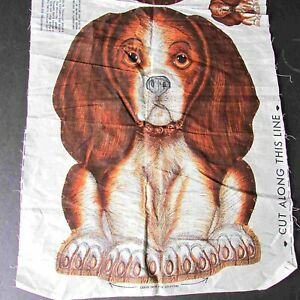 "VTG Fabric Panel Basset Hound Beagle Dog Puppy Cut Sew Stuff Craft 9"" FREE SH"