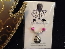 Wine Glass Charm - Single / Beaded - Cupcake (Pink)