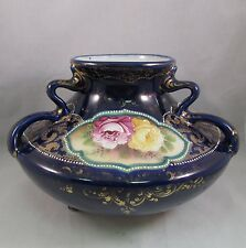Antique Nippon footed cobalt vase with three handles roses