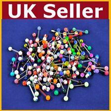 10 x Tongue Nipple Eyebrow Bar Bars Body Piercing Jewellery Rings Makeup - UK