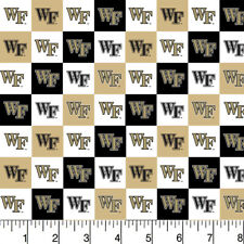 Wake Forest Demon Deacons Cotton Fabric with Collegiate Check Design-By The Yard