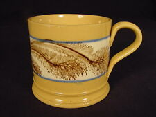 RARE 1800s LARGE BROWN SEAWEED MOCHA MUG MOCHAWARE YELLOW WARE
