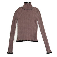Forever 21 Womens Sweater Mauve Black Striped Long Sleeve Cropped Turtleneck S
